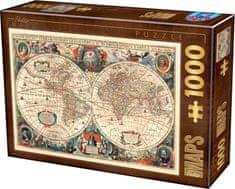 D-Toys Puzzle Antická mapa světa 1000 dílků