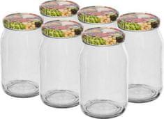 Browin Zavařovací sklenice 900 ml barevné víčko 82 mm, 6 ks