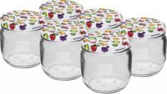 Browin Zavařovací sklenice 370 ml + barevné víčko 82 mm, 6 ks