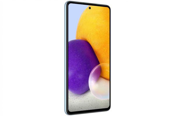 moderný mobilný dotykový telefón smartphone samsung galaxy a72 čítačka odtlačkov prsta krásny elegantný dizajn 5000mAh batéria slot pre microSD karty až 1 tb osemjadrový procesor 64mpx 12mpx 8 Mpx 5 Mpx zadný fotoaparát 32mpx predný fotoaparát gorilla glass 5 ochrana skla samoled displej nfc párovanie