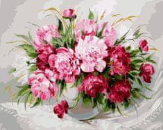 Kouzelný Art Malování podle čísel Růžové odstíny pivoněk