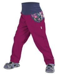 Unuo dívčí softshellové kalhoty bez zateplení Květinky