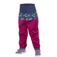 Unuo dívčí batolecí softshellové kalhoty bez zateplení Květinky
