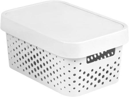 CURVER Tárolódoboz INFINITY 4,5l fedéllel fehér pontok
