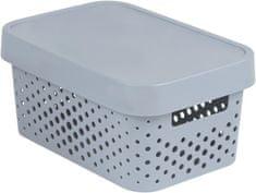 Curver Infinity škatla za shranjevanje s pokrovom, siva s pikami, 4,5 l