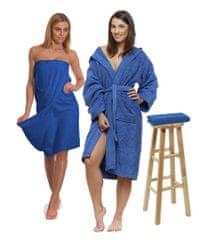 Interkontakt Sada Navy Blue: župan s kapucí + dámský saunový kilt + osuška Velikost županu XXL