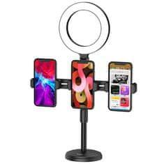 Kaku Ring Stand držiak na mobil a kruhové LED svetlo, čierne
