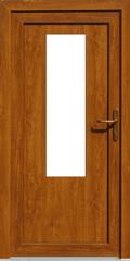 BS okna Plastové vchodové dveře zlatý dub pravé