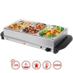 Alpina Buffet Server pladanj za grijanje 2u1, električna posuda za grijanje + topla ploča za posluživanje