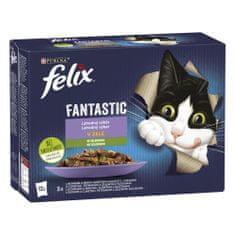 Felix Fantastic hovädzie s mrkvou, kurča s paradajkami, losos s cuketou, pstruh sa zel. fazuľkami 12 x 85 g
