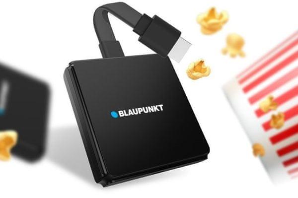 multimediální centrum Blaupunkt a-stream stick wifi Bluetooth ethernet hdr 4k uhd bezztrátový obraz dálkové ovládání chromecast inteligentní služby google 2gb ram 16gb flash hdmi snadný přístup na youtube netflix