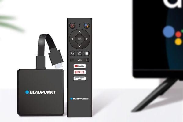 multimediální centrum Blaupunkt a-stream wifi Bluetooth ethernet hdr 4k uhd bezztrátový obraz dálkové ovládání chromecast inteligentní služby google 2gb ram 16gb flash hdmi snadný přístup na youtube netflix
