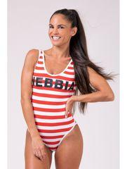 Nebbia Baywatch pásikávé plavky 676 červená S