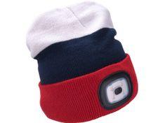 Extol Light čepice s čelovkou 4x45lm, USB nabíjení, bílá/modrá/červená