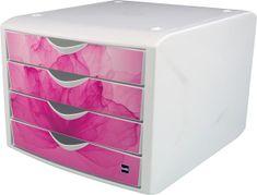 """Helit Zásuvkový box """"Chameleon"""", růžová, plastový, 4 zásuvky"""