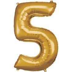Amscan Balónik fóliový narodeninové číslo 5 zlatý 86cm