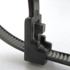 Extol Premium Pásky sťahovacie čierne, 4,8x200mm, 100ks, 18kg, viacnásobné použitie