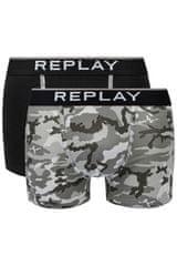 Replay Bokser spodnjice Boxer Style 8 Cuff Logo&Camouflage 2Pcs Box - Black/Camoufl Grey