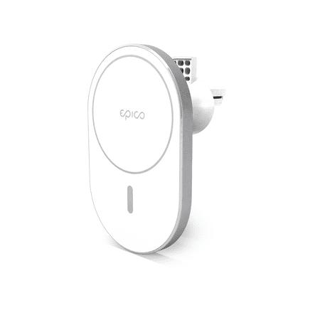 EPICO Ellipse Wireless Car Charger (MagSafe compatible) magnetno postolje za punjenje, 15W/10W/7,5W + 18W QC (9915111100037), Silver