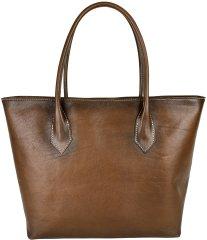 VegaLM Dámska kožená SHOPPER kabelka, ručne tamponovaná a tieňovaná v hnedej farbe