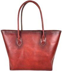 VegaLM Dámska kožená SHOPPER kabelka, ručne tamponovaná a tieňovaná v červenej farbe