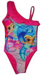 Nickelodeon Dívčí růžové jednodílné plavky s panenkou Shimmer and Shine.
