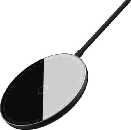 BASEUS Simple mini mágneses vezeték nélküli töltő + Type-C típusú 1,5 m-es kábel (kompatibilis az iPhone 12-vel) WXJK-F01, fekete