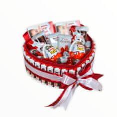 RK Dekorace Menší dárkový box ve tvaru srdce z Kinder dobrot 24x21 cm