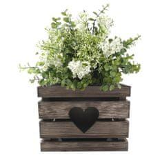 AMADEA Dřevěný obal na květináč se srdcem tmavý, 27x27x20 cm Český výrobek