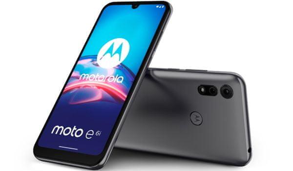 Motorola E6i, čtečka otisků prstů, velký displej, duální fotoaparát, bokeh efekt, hloubka ostrosti