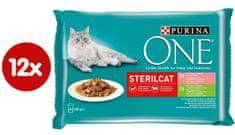 Purina ONE SterilCat vrećice za mačke, mini fileti s puretinom, lososom, mrkvom i zelenim grahom u soku, 48 x 85 g