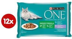 Purina ONE Indoor vrećice za mačke, mini fileti s tunom i grahom te teletinom i mrkvom u soku, 48 x 85 g