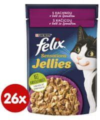 Felix Sensations Jellies kacsával spenótos zselében 26 x 85 g