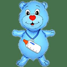 Flexmetal Fóliový balón - Macko s fľašou (modrý)