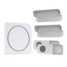 Solight bezdrátový zvonek, 2 tlačítka, do zásuvky, 200m, bílý, learning code, 1L67DT
