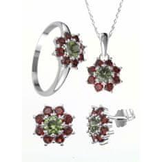 A-B Sada strieborných šperkov poinsettie s českými granátmi a vltavínom Ag 925/1000, 22K, Ag+Rh 20000050