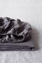 Linen Tales Lněné prostěradlo Dark Grey 160x200x20cm