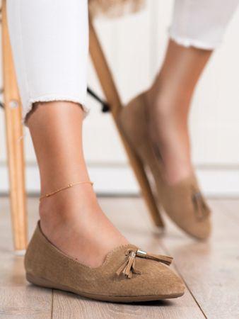 Női balerina cipő 70048 + Nőin zokni Gatta Calzino Strech, bézs és barna árnyalat, 40