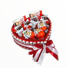 RK Dekorace Velký dárkový box ve tvaru srdce z Kinder dobrot 24x27 cm