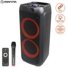 Manta SPK 5310 zvučnik, karaoke, ugrađena baterija, Bluetooth, USB, MP3, FM radio, disko LED, TWS, 3000 W P.M.P.O