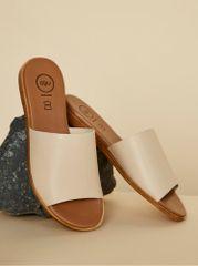 OJJU béžové kožené pantofle