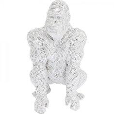 KARE Soška Gorila stojacia strieborná 80cm