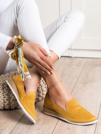 Női balerina cipő 70091 + Nőin zokni Gatta Calzino Strech, sárga és arany árnyalat, 36