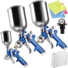 tectake Striekacia pištoľ lakovacej HVLP sada 3ks v kufríku 0,8mm / 1,3mm / 1,7mm +multifunkčné handričiek z mikrovlákna - modrá