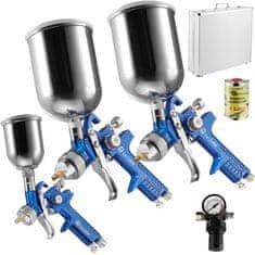 tectake Striekacia pištoľ lakovacej HVLP sada 3ks v kufríku 0,8mm / 1,3mm / 1,7mm + odstraňovač silikónu 1l - modrá