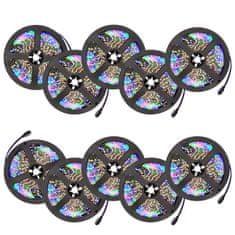 tectake 10x LED pásik na diaľkové ovládanie 5m - bílá