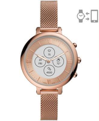 Chytré hybridní hodinky Fossil FTW7039 Hybrid Watch F Monroe Rose Gold Steel analogové zobrazení času klasický elegantní design přizpůsobitelný ciferník vyměnitelný řemínek nerezová ocel notifikace z telefonu měření tepu krokoměr sledování fyzické aktivity Androin iOS dlouhá výdrž baterie smartwatch ručičkový ciferník
