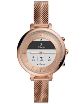 Chytré hybridní hodinky Fossil FTW7039 Hybrid Watch F Monroe Rose Gold Steel analogové zobrazení času klasický elegantní design přizpůsobitelný ciferník vyměnitelný řemínek nerezová ocel notifikace z telefonu měření tepu krokoměr sledování fyzické aktivity Androin iOS dlouhá výdrž baterie smartwatch ručičkový ciferník hudební přehrávač vodotěsné 3 ATM