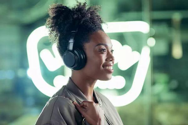 moderní bezdrátová sluchátka philips tah9505 anc technologie potlačující hluky philips fidelio dokonalý vyvážený zvuk mikrofon pro ultračisté handsfree hovory ovládání aplikací ekvalizér dotykové ovládání výkonné 40mm měniče výdrž na nabití až 27 h možnost připojení sluchátek kabelem