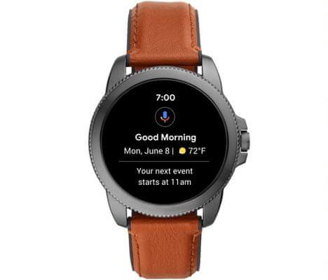 Chytré hodinky Fossil FTW4055 Gen 5E Smartwatch digitální zobrazení času certifikace voděodolnost 3 ATM notifikace z telefonu zvedání hovorů měření tepu krokoměr sledování fyzické aktivity Android iOS dlouhá výdrž baterie smartwatch Wear OS Google Fit AMOLED displej Gorilla Glass monitoring spánku přehled sportovních aktivit nastavitelný vzhled ciferníku GPS Wifi Bluetooth